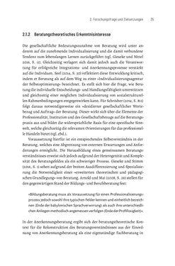 Bild der Seite - 35 - in Bildungs- und Berufsberatung in der Migrationsgesellschaft - Pädagogische Perspektiven auf Beratung zur Anerkennung im Ausland erworbener Qualifikationen