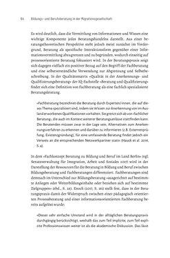 Bild der Seite - 64 - in Bildungs- und Berufsberatung in der Migrationsgesellschaft - Pädagogische Perspektiven auf Beratung zur Anerkennung im Ausland erworbener Qualifikationen