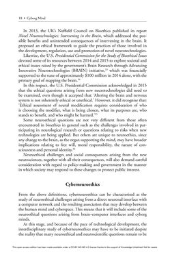Bild der Seite - 18 - in Cyborg Mind - What Brain–Computer and Mind–Cyberspace Interfaces Mean for Cyberneuroethics