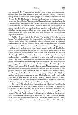 Bild der Seite - 233 - in Germanistik in Wien - Das Seminar für Deutsche Philologie und seine Privatdozentinnen (1897–1933)