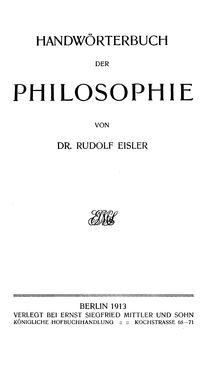 Bild der Seite - (000001) - in Handwörterbuch der Philosophie