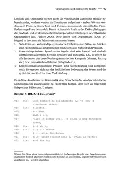 Bild der Seite - 97 - in Jugendkommunikation und Dialekt - Syntax gesprochener Sprache bei Jugendlichen in Osttirol