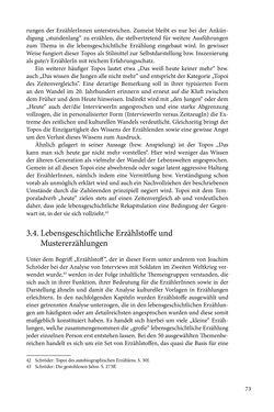 Image of the Page - 73 - in Erzählen vom Leben im 20. Jahrhundert - Erinnerungspraxis und Erzähltraditionen in lebensgeschichtlichen Interviews am Beispiel der Region Montafon/Vorarlberg