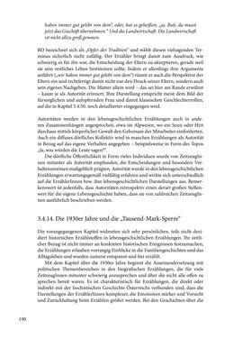 Image of the Page - 190 - in Erzählen vom Leben im 20. Jahrhundert - Erinnerungspraxis und Erzähltraditionen in lebensgeschichtlichen Interviews am Beispiel der Region Montafon/Vorarlberg