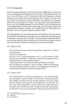 Image of the Page - 301 - in Erzählen vom Leben im 20. Jahrhundert - Erinnerungspraxis und Erzähltraditionen in lebensgeschichtlichen Interviews am Beispiel der Region Montafon/Vorarlberg
