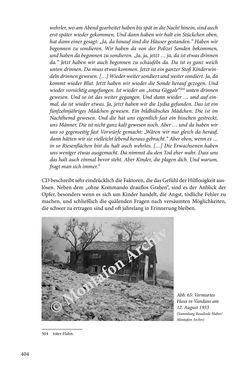 Bild der Seite - 404 - in Erzählen vom Leben im 20. Jahrhundert - Erinnerungspraxis und Erzähltraditionen in lebensgeschichtlichen Interviews am Beispiel der Region Montafon/Vorarlberg
