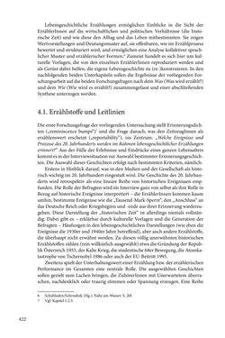 Image of the Page - 422 - in Erzählen vom Leben im 20. Jahrhundert - Erinnerungspraxis und Erzähltraditionen in lebensgeschichtlichen Interviews am Beispiel der Region Montafon/Vorarlberg