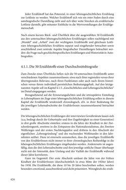 Image of the Page - 424 - in Erzählen vom Leben im 20. Jahrhundert - Erinnerungspraxis und Erzähltraditionen in lebensgeschichtlichen Interviews am Beispiel der Region Montafon/Vorarlberg
