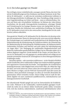 Image of the Page - 427 - in Erzählen vom Leben im 20. Jahrhundert - Erinnerungspraxis und Erzähltraditionen in lebensgeschichtlichen Interviews am Beispiel der Region Montafon/Vorarlberg