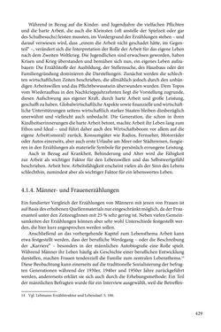 Image of the Page - 429 - in Erzählen vom Leben im 20. Jahrhundert - Erinnerungspraxis und Erzähltraditionen in lebensgeschichtlichen Interviews am Beispiel der Region Montafon/Vorarlberg