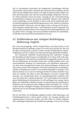 Image of the Page - 432 - in Erzählen vom Leben im 20. Jahrhundert - Erinnerungspraxis und Erzähltraditionen in lebensgeschichtlichen Interviews am Beispiel der Region Montafon/Vorarlberg