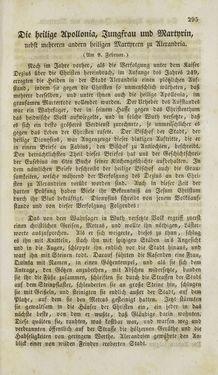 Bild der Seite - 295 - in Legenden der Heiligen auf alle Tage des Jahres - Die Herrlichkeit der katholischen Kirche, dargestellt in den Lebensbeschriebungen der Heiligen Gottes, Band 1