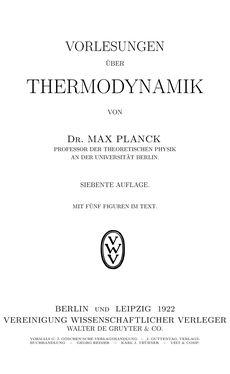 Bild der Seite - (000001) - in Vorlesungen über Thermodynamik