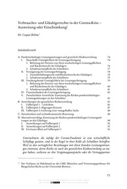 Image of the Page - 73 - in Vertragsrecht in der Coronakrise