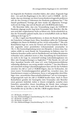 Image of the Page - 141 - in Vertragsrecht in der Coronakrise