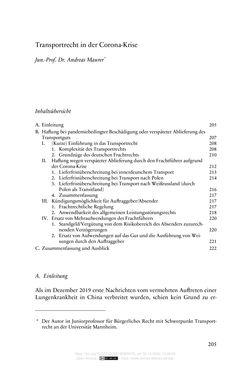 Image of the Page - 205 - in Vertragsrecht in der Coronakrise