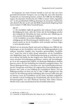 Bild der Seite - 215 - in Vertragsrecht in der Coronakrise