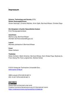 Bild der Seite - (000002) - in Die Akzeptanz virtueller Gesundheits-Avatare - Eine Fokusgruppenanalyse, Band 1