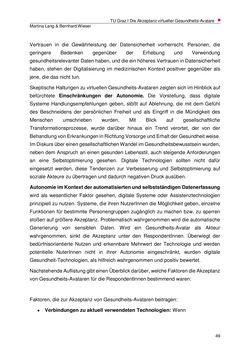 Bild der Seite - 49 - in Die Akzeptanz virtueller Gesundheits-Avatare - Eine Fokusgruppenanalyse, Band 1