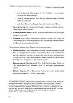 Bild der Seite - 50 - in Die Akzeptanz virtueller Gesundheits-Avatare - Eine Fokusgruppenanalyse, Band 1