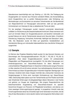Bild der Seite - 12 - in Nutzer-Profile von Gesundheits-Avataren - Erhebung zielgruppenspezifischer Anwendungskontexte, Band 2