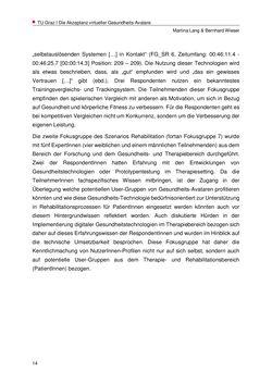 Image of the Page - 14 - in Nutzer-Profile von Gesundheits-Avataren - Erhebung zielgruppenspezifischer Anwendungskontexte, Volume 2