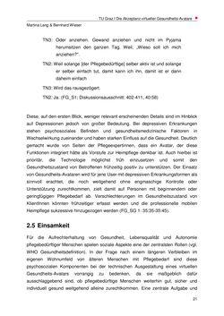 Image of the Page - 21 - in Nutzer-Profile von Gesundheits-Avataren - Erhebung zielgruppenspezifischer Anwendungskontexte, Volume 2