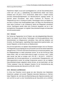 Bild der Seite - 27 - in Nutzer-Profile von Gesundheits-Avataren - Erhebung zielgruppenspezifischer Anwendungskontexte, Band 2