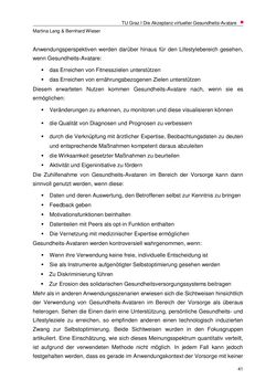 Bild der Seite - 41 - in Nutzer-Profile von Gesundheits-Avataren - Erhebung zielgruppenspezifischer Anwendungskontexte, Band 2