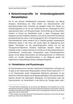 Bild der Seite - 43 - in Nutzer-Profile von Gesundheits-Avataren - Erhebung zielgruppenspezifischer Anwendungskontexte, Band 2