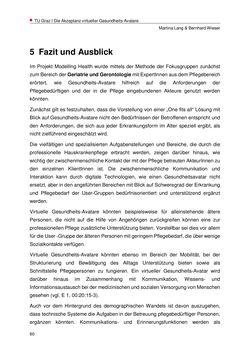 Bild der Seite - 60 - in Nutzer-Profile von Gesundheits-Avataren - Erhebung zielgruppenspezifischer Anwendungskontexte, Band 2
